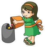 Mädchen wirft den Abfall stock abbildung