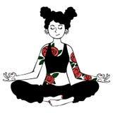 Mädchen yoga Die Illustration des Autors in einem Vektor Getrennte Nachricht auf weißem Hintergrund lizenzfreie stockfotografie