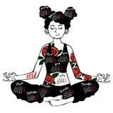 Mädchen - Yoga Die Illustration des Autors in einem Vektor Kalender - Monate Getrennte Nachricht auf weißem Hintergrund stockfotografie