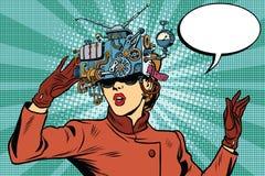 Mädchen-Zukunftsromane der Gläser der virtuellen Realität Retro- Stockfoto