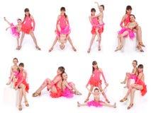 Mädchen zwei im Kleid, das in den Haltungen des Studios acht aufwirft Lizenzfreie Stockbilder
