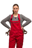 Mädchenarbeitskraft mit Schlüssel Stockfoto