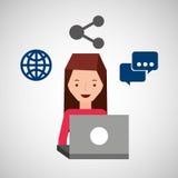 Mädchenbenutzerlaptop-Anteilblase sprechen Welt Stockfoto