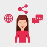 Mädchenbenutzerlaptop-Anteilblase sprechen Welt Lizenzfreie Stockfotografie