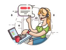 Mädchenbetreiber in Call-Center vektor abbildung