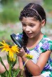 Mädchenblick auf Käfer durch Lupe Stockfotografie
