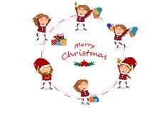 Mädchencharaktere Vektor, Verkauf, Kreisringentwurf, Weihnachten und stock abbildung