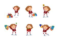 Mädchencharaktere Vektor, Verkauf, Weihnachten und guten Rutsch ins Neue Jahr shopp stock abbildung