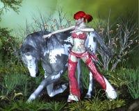 Mädchencowboy und -pferd Lizenzfreies Stockfoto