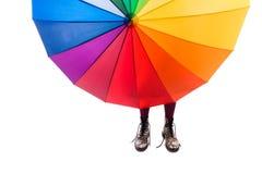 Mädchenespritregenschirm Stockbilder