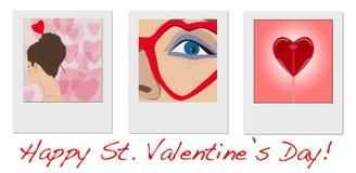 Mädchenfotos mit Wünschen des glücklichen Valentinsgruß-Tages Lizenzfreie Stockfotografie
