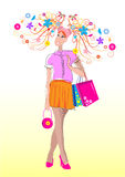 Mädchenfrühling Lizenzfreies Stockfoto
