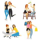 Mädchenfreundschaftsfarbe lokalisierte Illustration für Netz und bewegliches Design Lizenzfreie Stockbilder