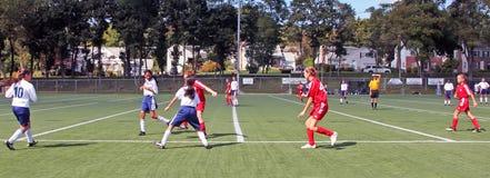 Mädchenfußball Spiel stockfoto