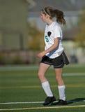 Mädchenfußballspieler stockbild