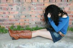Mädchengefühl frustriert stockbilder
