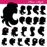 Mädchengesichts-Schattenbildsatz Profil-Frisur zeichen Lizenzfreie Stockbilder