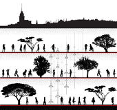 Mädchengruppen-vektorschattenbilder mit Stadtbild Stockfoto