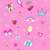 mädchenhaftes nahtloses Muster mit Krone, ziehen sich rosa Hintergrundvektorillustration zurück Stockfoto
