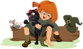 Mädchenhexe setzt eine schwarze Katze Stockbild