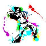 Mädchenhip-hop-Tänzer mit Farbe spritzt Stockfotos