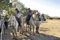 Mädchenhirte in der französischen Camargue-Region Stockfotos