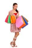 Mädchenholding-Einkaufenbeutel Lizenzfreie Stockbilder