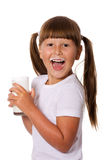 Mädchenholdingmilch Lizenzfreies Stockbild