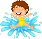 Mädchenkarikatur, die zum Wasser springt Stockfotografie