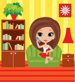 Mädchenkarikatur spricht am Telefon Stockfotografie