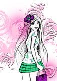 Mädchenkarikaturillustration, T-Shirt Grafik stock abbildung