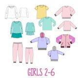 Mädchenkleidung stellte technische Skizzen ein Lizenzfreie Stockbilder