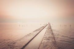 Mädchenläufe zum Meer Stockbild