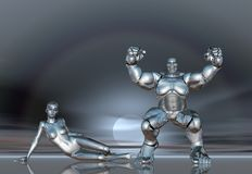 mädchenlebensstil-Plakataufkleber BG des Roboter-3D Super Stockfotografie