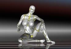 mädchenlebensstil-Plakataufkleber des Roboter-3D Super Lizenzfreies Stockfoto