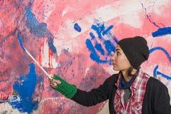 Mädchenmalerei stockfotos