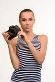 Mädchenphotograph mit Kamera Lizenzfreie Stockbilder