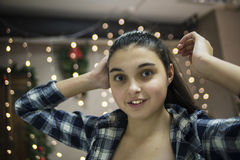 Mädchenporträtabschluß stockfotos