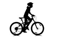 Mädchenradfahren lokalisiert auf Weiß Lizenzfreie Stockfotografie