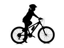Mädchenradfahren lokalisiert auf Weiß Lizenzfreies Stockbild