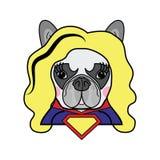 Mädchenraum Kinder reden netten französische Bulldogge weiblichen Hundesuperheld-Frauen-Comic-Buch-Charaktervektor in der Farbe a lizenzfreie stockfotografie