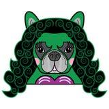 Mädchenraum Kinder reden netten französische Bulldogge weiblichen Hundesuperheld-Frauen-Comic-Buch-Charaktervektor in der Farbe a stockbilder