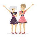 Mädchensänger-Gesanglied Duofrauen Flache Illustrationsleute des Charaktervektors Lizenzfreies Stockfoto