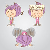 Mädchensüßigkeits-Karikaturvektor des Charakters süßer thailändischer Lizenzfreie Stockfotos