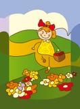 Mädchensammelnblumen Lizenzfreie Stockfotografie