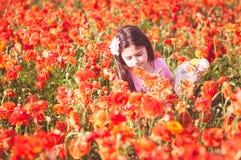 Mädchensammelnblumen auf einem Gebiet stockfoto