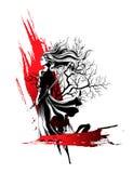Mädchensamurais, die in der Hand mit Klinge, ein starker kräuselnder Wind stehen Stockfotografie