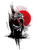 Mädchensamurais, die in der Hand mit Klinge, ein starker kräuselnder Wind stehen Lizenzfreies Stockfoto