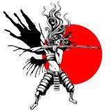 Mädchensamurais mit Flügeln Stockfoto