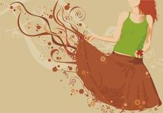 Mädchenschattenbild, das einen Apfel anhält Lizenzfreie Stockfotos
